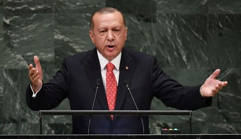 Turkish President Recep Tayyip Erdogan addresses the 73rd session of the General Assembly at the United Nations, September 25, 2018.