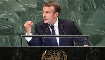 France's President Emmanuel Macron addresses the 73rd session of the United Nations General Assembly at UN headquarters in New York, September 25, 2018.