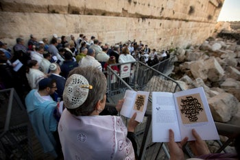 American and Israeli Reform rabbis pray at the Western Wall in 2016.
