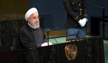 Iranian President Hassan Rohani addresses the 73rd session of the United Nations General Assembly, September 25, 2018.