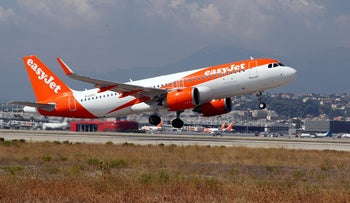 FILE PHOTO: The easyJet Airbus A320-251N takes off from Nice international airport for its inaugural flight between Nice and Tenerife, in Nice, France, September 19, 2018