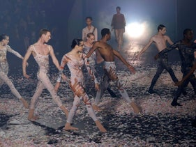 Performers from the L-E-V dance company at the Christian Dior show at Paris Fashion Week, September 24, 2018.