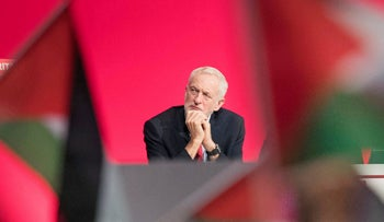 UK Labour leader Jeremy Corbyn on stage during a debate on Palestine called at the Labour Party's annual conference. Liverpool, UK. Sept. 25, 2018.