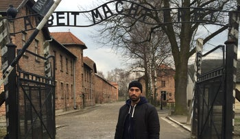 Siavosh Derakhti visiting Auschwitz, which was in Nazi-occupied Poland. He has taken groups of young Swedes on tours of several death camps, including Auschwitz and Sachsenhausen.