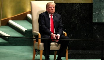U.S. President Donald Trump sits before delivering his address during the 73rd session of the United Nations General Assembly in New York, on Tuesday, September 25, 2018