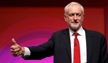Britain's Labour Party leader Jeremy Corbyn acknowledges the audience's applause after he delivered his keynote speech at the Labour Party Conference in Liverpool, Britain, September 26, 2016