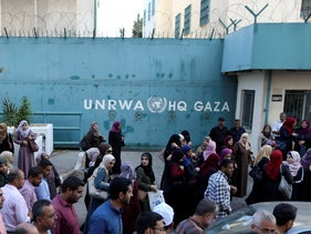 Palestinian employees of UNRWA protest against the cuts in Gaza, September 2018.