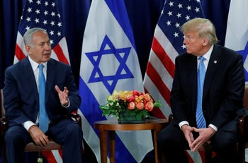 Israeli Prime Minister Benjamin Netanyahu with U.S. President Donald Trump during the 73rd session of the United Nations General Assembly at UN headquarters in New York, September 26, 2018.