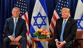 U.S. President Donald Trump meets with Israeli Prime Minister Benjamin Netanyahu on on the sidelines of the UN General Assembly in New York, September 26, 2018.
