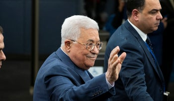 Palestinian President Mahmoud Abbas arrives during the 73rd session of the United Nations General Assembly, at U.N. headquarters, Sept. 25, 2018.