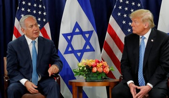 U.S. President Donald Trump and Israeli Prime Minister Benjamin Netanyahu holding a bilateral meeting during the 73rd session of the UN General Assembly, September 26, 2018.