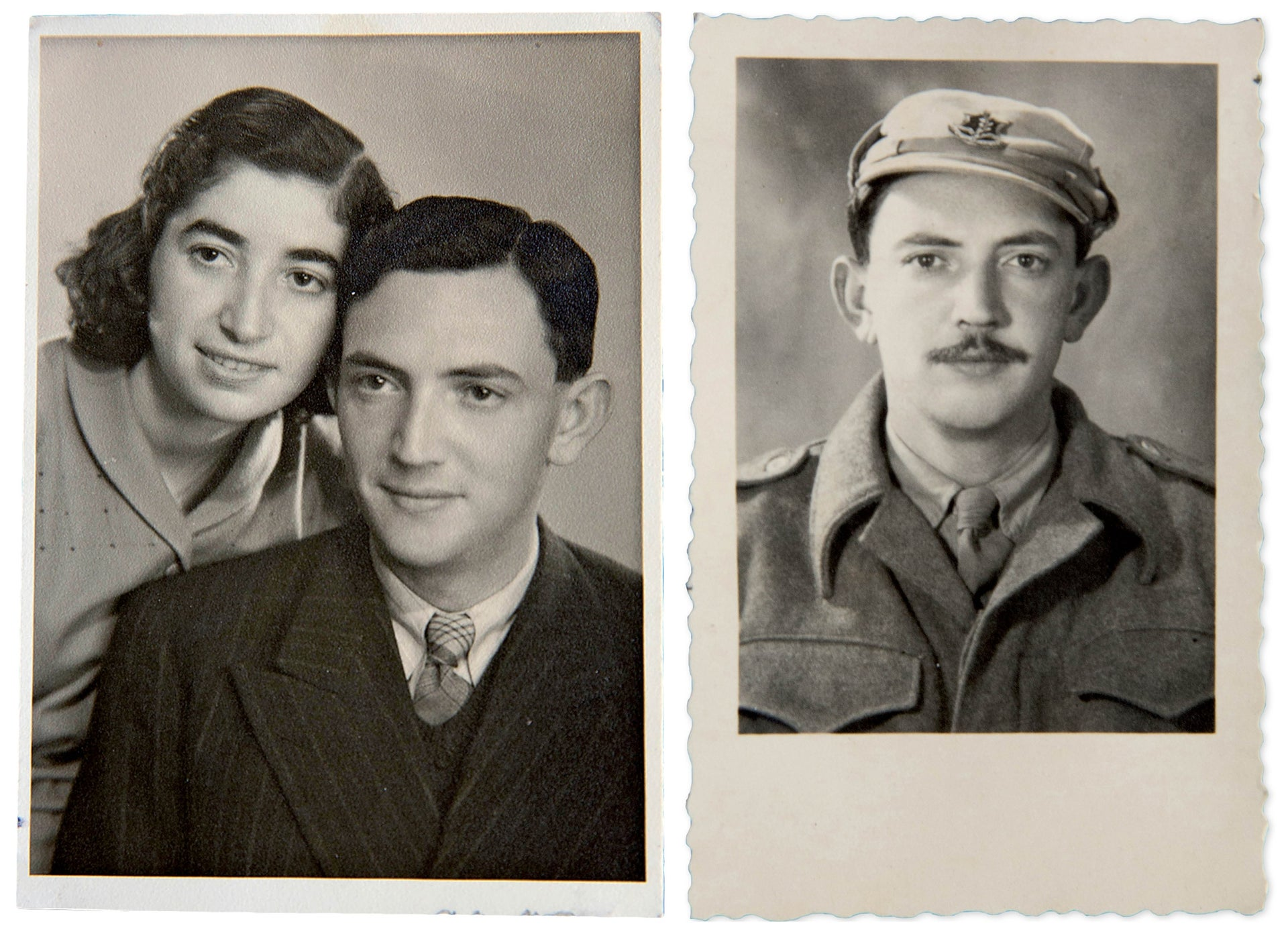 Blau with his wife, on the left, and during his military service.