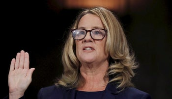 Professor Christine Blasey Ford, who accused U.S. Supreme Court nominee Brett Kavanaugh of a sexual assault in 1982, is sworn in to testify before a Senate Judiciary Committee confirmation hearing for Kavanaugh on Capitol Hill in Washington, U.S., September 27, 2018