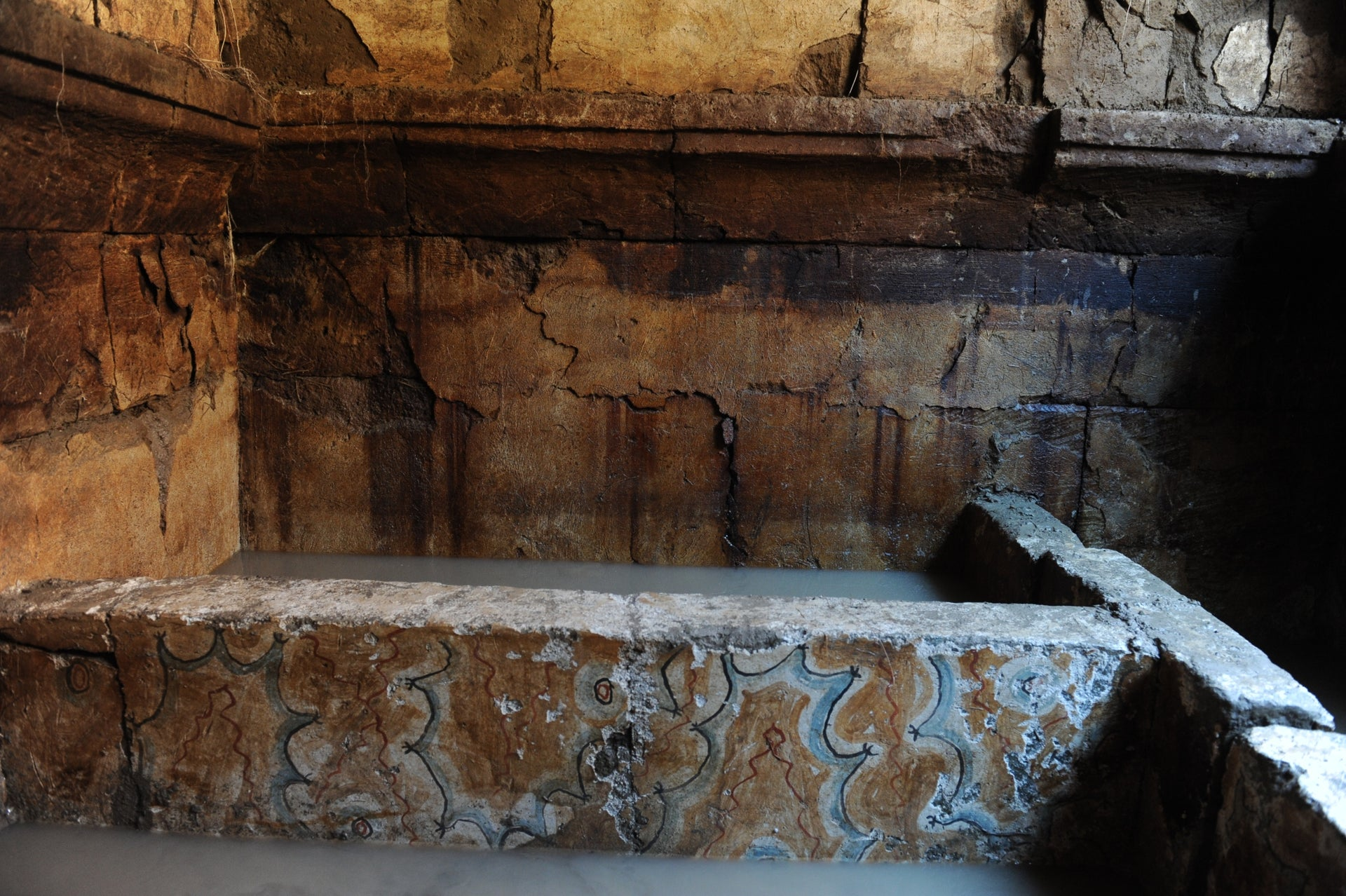 Cumae tomb with funeral boxes painted in faux marble