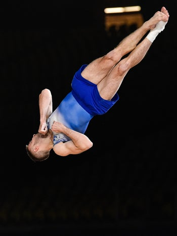 Israel's Artem Dolgopyat competing on the floor exercise during the Artistic Gymnastics World Championships in Montreal, Canada, October 2017.