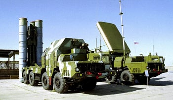 A Russian S-300 anti-aircraft missile system is on display at an undisclosed location in Russia