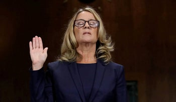Christine Blasey Ford is sworn in before testifying the Senate Judiciary Committee in the Dirksen Senate Office Building at the Capitol Hill in Washington, September 27, 2018.