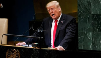 President Donald Trump delivers a speech to the United Nations General Assembly, SeptEMBER 25, 2018.