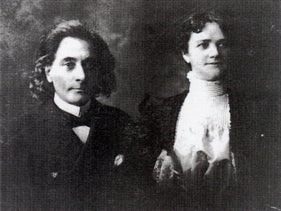 Naftali Herz Imber with his wife Amanda Kati, around 1900.