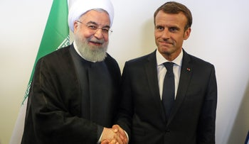 French President Emmanuel Macron meets with Iranian President Hassan Rohani on the sidelines of the UN General Assembly, New York, September 25, 2018.