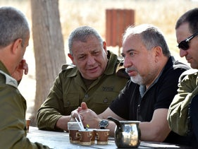 Israel Defense Forces Chief of Staff Gadi Eisenkot, left, with Defense Minister Avigdor Lieberman during a tour of the Gaza Strip border, May 16, 2018.