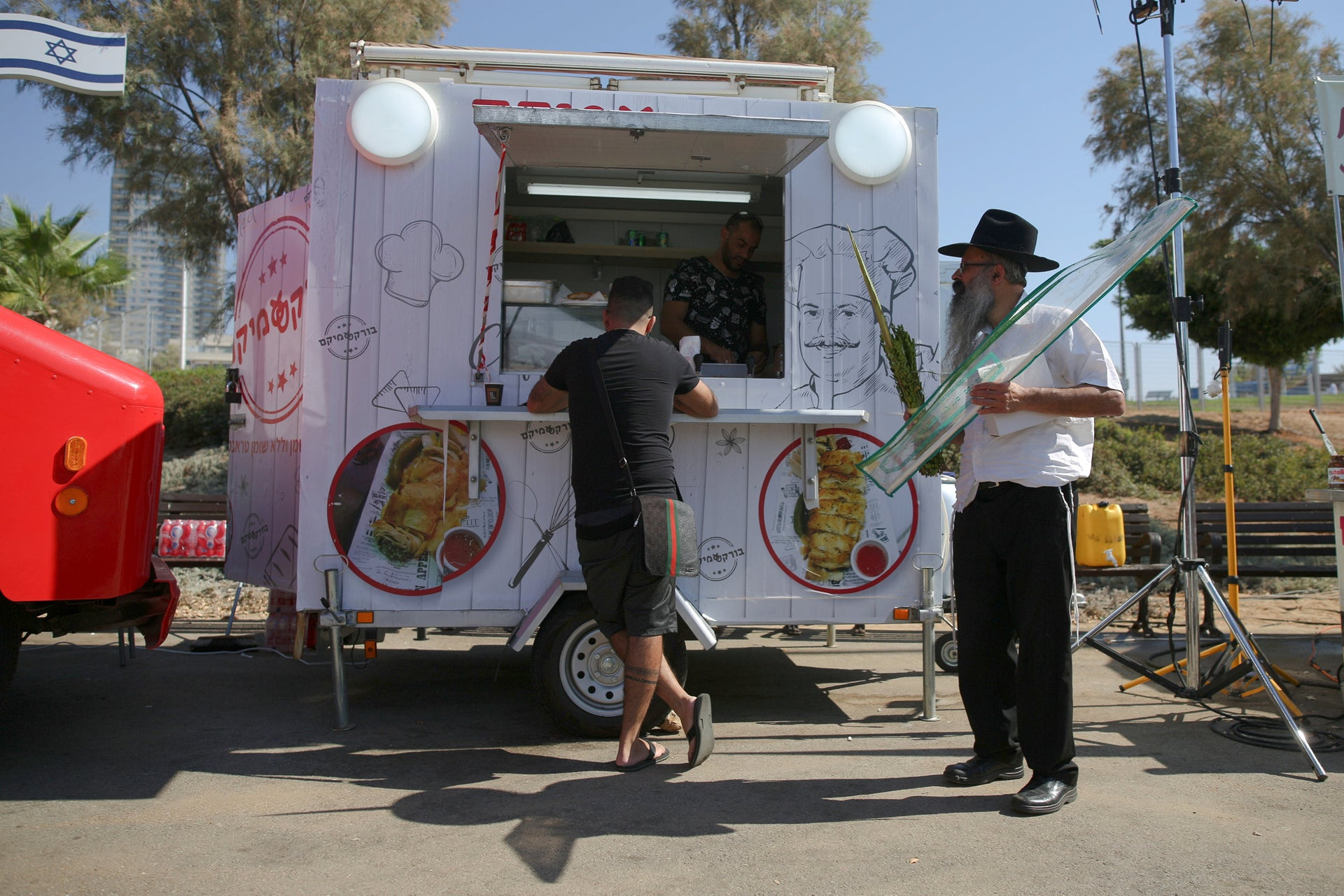 One of the food trucks in Ashdod during the Sukkot holiday.