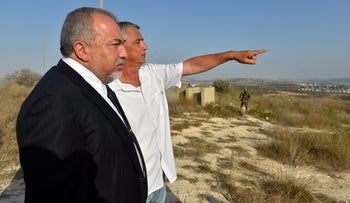 Defense Minister Avigdor Lieberman at a visit to a settlement on Tuesday, October 2, 2018.