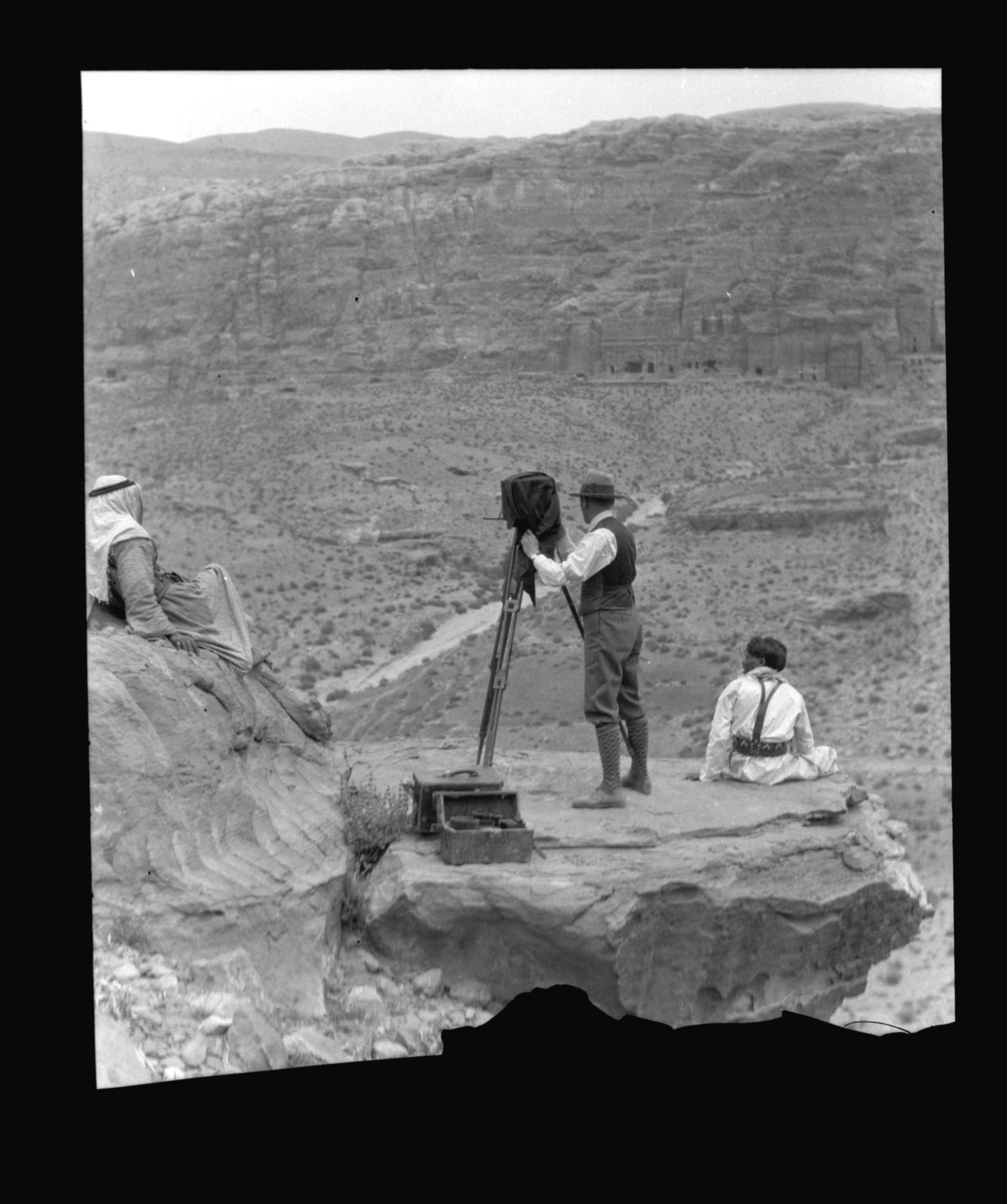 Eric Matson photographing in Petra, 1934.