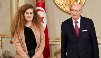 Palestinian teen Ahed Tamimi meeting with Tunisian President Beji Caid Essebsi at the presidential palace near Tunis, October 2, 2018.