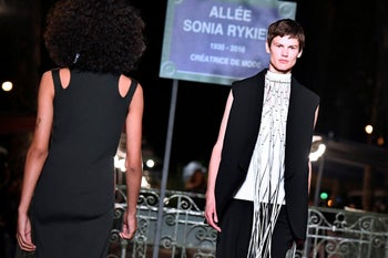 Models showcasing clothes from the latest collection of the  Sonia Rykiel brand at a show on September 29, 2018.