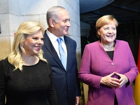 Merkel and the Netanyahus at their home, October 3, 2018.