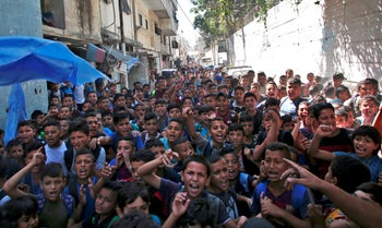 Palestinian pupils protest in front of a school administered by UNRWA and financed by U.S. aid, in the Balata refugee camp near Nablus, West Bank. September 25, 2018.