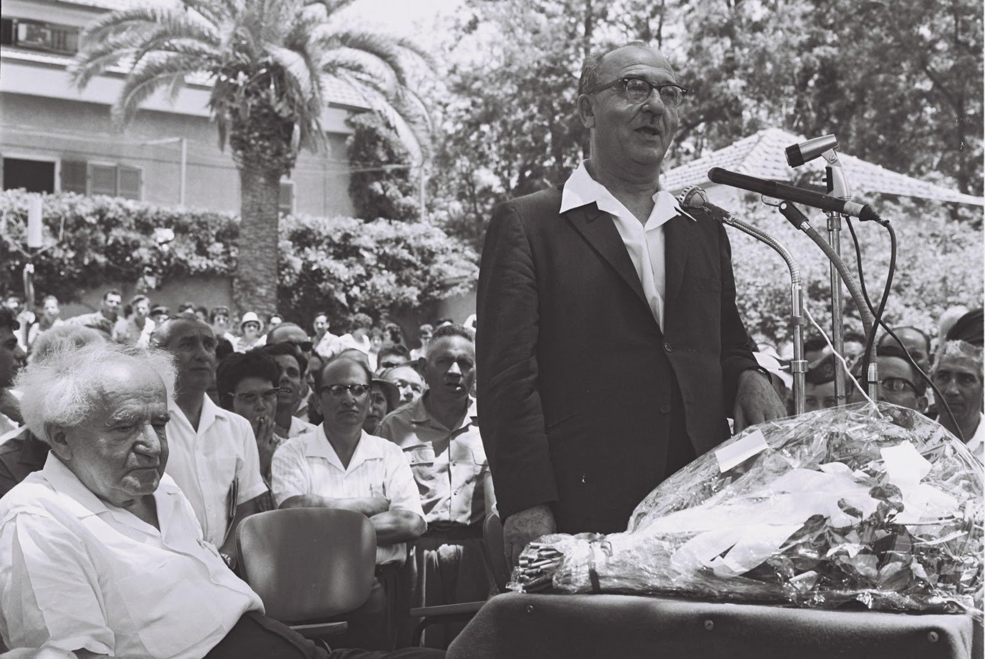 The 1963 ceremony in which Levi Eshkol took over from Ben-Gurion as premier, in the garden outside the PMO in the Kirya.