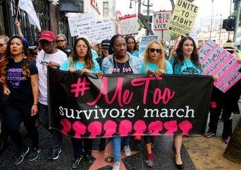 Participants marching against sexual assault and harassment at the #MeToo March in Los Angeles, November 2017.