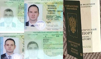 Parts of Russian diplomatic passports of alleged Russian agents expelled from Holland in April, released on October 4, 2018