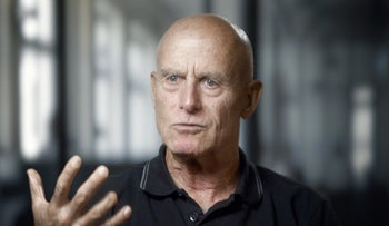 """FILE Photo: Former Shin Bet chief Ami Ayalon speaking in the documentary """"The Gatekeepers."""""""