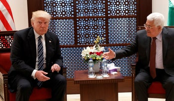 U.S. President Donald Trump meeting with Palestinian counterpart Mahmoud Abbas in the West Bank on May 23, 2017.