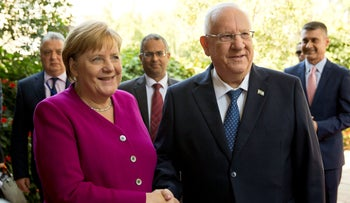 Reuven Rivlin with German Chancellor Angela Merkel at the President's residence in Jerusalem, Israel, October 4, 2018