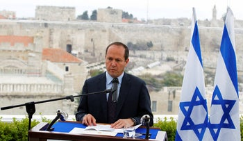 File photo: Jerusalem Mayor Nir Barkat speaks during a news conference in Jerusalem, February 23, 2015.