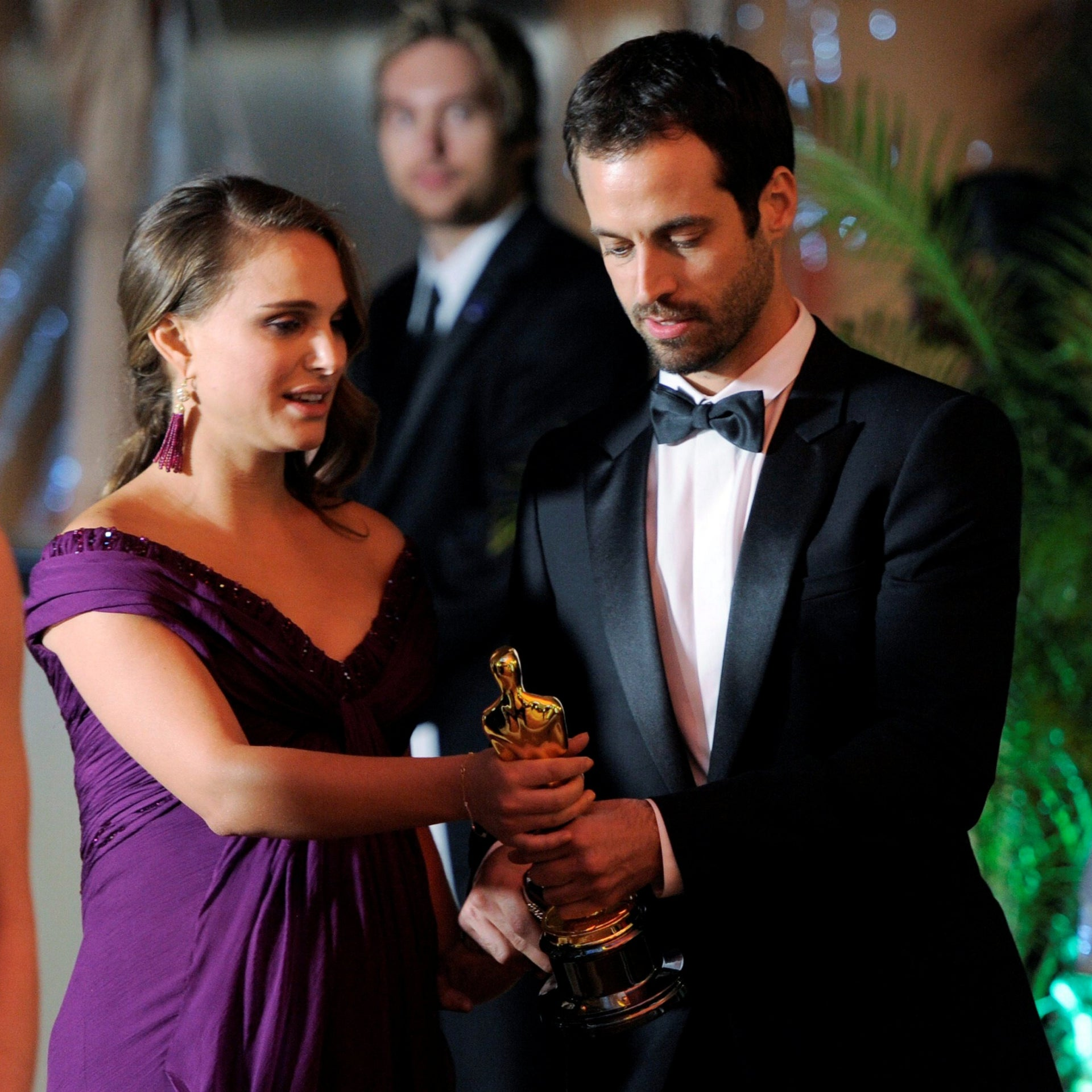 Benjamin Millepied and Natalie Portman attend the Governors Ball following the 83rd Academy Awards on Sunday, Feb. 27, 2011.