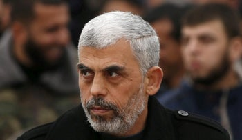 Hamas leader Yahya Sinwar attends a rally in Khan Younis in the southern Gaza Strip January 7, 2016.
