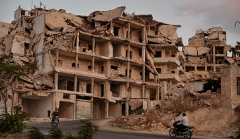 Destroyed buildings in the northern town of Ariha, Idlib province, Syria, September 20, 2018