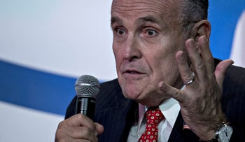 Rudy Giuliani, former NY mayor , speaks at the Values Voter Summit with then-presidential nominee Donald Trump. Washington, D.C., U.S. Sept. 9, 2016