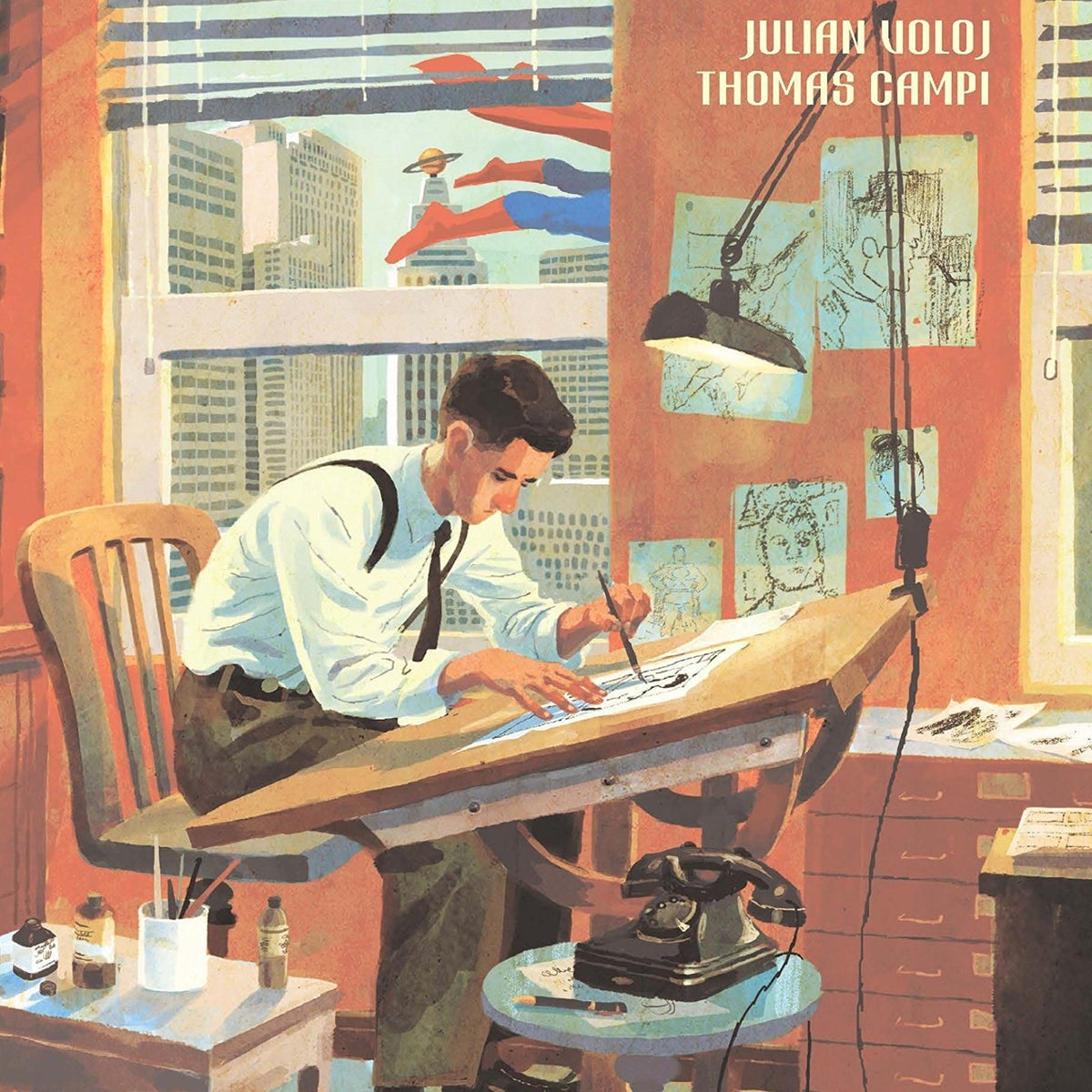 A detail from the cover of 'The Joe Shuster Story: The Artist Behind Superman.'