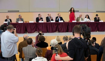 Members of the Jews in AfD faction during a press conference in Wiesbaden, Germany, October 7, 2018. The woman standing is the faction's chairwoman, Vera Kosova.