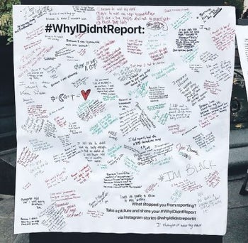 Madison Square Park, New York: #WhyIDidntReport poster, October 2018