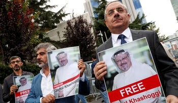 Human rights activists and friends of Saudi journalist Jamal Khashoggi hold his pictures during a protest outside the Saudi Consulate in Istanbul, Turkey October 8, 2018