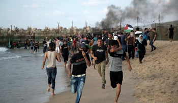 Protesters in the northern Gaza Strip, October 8, 2018