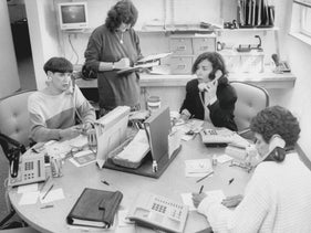 Female patient advocates Debbie Gigula, left, Jane Citrin and Marcee Silverstein (all sitting) advising women at Reproductive Health Services, an abortion and counseling clinic, in September 1994.