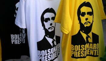T-shirts depicting Jair Bolsonaro, far-right lawmaker and presidential candidate in front of his condominium in Rio de Janeiro, Brazil. October 9, 2018.